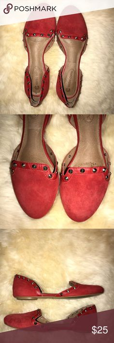 Corso Como Regal red Flats size 7.5 This item is pre-owned but in excellent condition, only wore once!  -Sizing:  Runs small; order 1/2 size up. - Round toe - Slip-on - d'Orsay design - Embellished detail - Lightly cushioned footbed  -Materials: Red (leather upper and lining, manmade sole) Corso Como Shoes Flats & Loafers