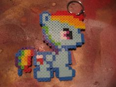 Rainbowdash Perler Bead Keychain! i know someone who would love this!