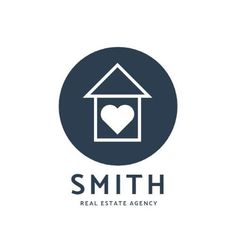 A simple template for a real estate logo. A plain white background with a circle textbox that includes an illustration of a house and a love heart. Smith real estate agency is written in blue.