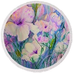 Spring Flower Medley pink and purple Round Beach Towel by Sabina Von Arx. The beach towel is in diameter and made from polyester fabric. Purple Spring Flowers, Poppy Flowers, Pastel Flowers, Iris Flowers, White Flowers, Tulips, Poppies, Beach Towel Bag, Anemones