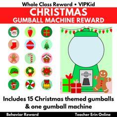 Gumball Machine Reward CHRISTMAS THEMED   Bubble Gum   Class, Student, VIPKid