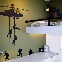 Boys Army Bedroom, Boy And Girl Shared Bedroom, Bedroom Loft, Baby Boy Rooms, Camouflage Room, Army Room Decor, New Room, Home Remodeling, Kids Room