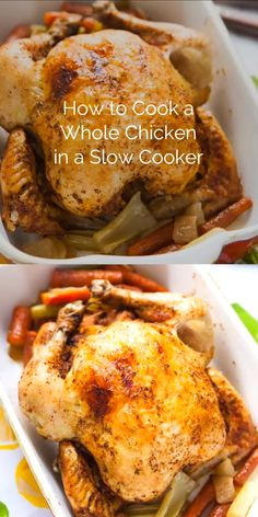 Why make roast chicken in the oven when you can make it in a crockpot? I show you how EASY it is! chicken recipes How to Cook a Whole Chicken in the Slow Cooker Cooking Whole Chicken, Whole Roasted Chicken, Stuffed Whole Chicken, Slow Cooker Chicken Whole, Whole Chicken In Oven, Baked Bone In Chicken, Oven Baked Bbq Chicken, Perfect Roast Chicken, Fried Chicken