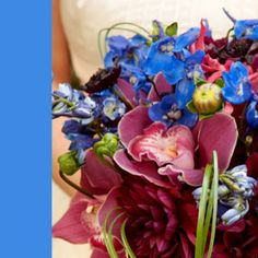 love the colors in this wedding flower bouquet - Blue Wedding Color Scheme Ideas - blue with burgundy and dusty pink