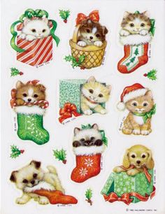 Vintage Christmas Kittens & Puppies Sticker Sheet By Hallmark I had these exact stickers! Christmas Kitten, Noel Christmas, Christmas Animals, Retro Christmas, Christmas Ideas, Halloween Stickers, Christmas Stickers, Toys R Us Kids, Baby Animals