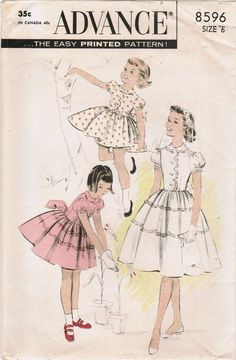 1950s Advance 8596 Vintage Sewing Pattern Girl's Dress Size 6. $10.00, via Etsy.