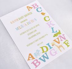 cute shower theme!! Alphabet Baby Shower Invitations. $1.00, via Etsy.