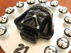 Star Wars Darth Vader Cake with Stormtrooper Cupcakes