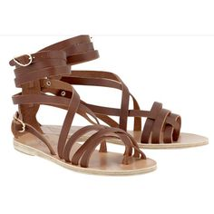 Ancient greek sandals brown satira leather sandals (23680 RSD) ❤ liked on Polyvore featuring shoes, sandals, leather shoes, strap sandals, strappy leather sandals, special occasion shoes and evening sandals