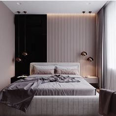 Black + Vertical Wooden Slats + Soft Bed