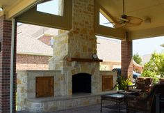 Relaxing sitting area & custom outdoor fireplace