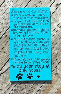 Pet Rules For The Home Rules for Non Pet Owners Hand Painted Wooden Sign Pets