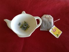 Ceramic Teabag Holder 4.5 With Blue Floral by GiselesDesigns
