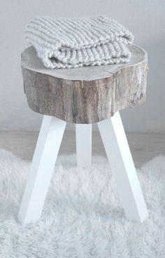 Raw wood cross cut log stool or end table