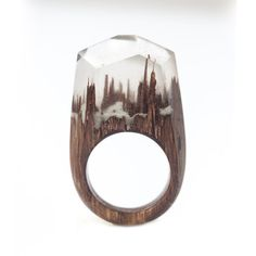 Resin Wood Ring Epoxy Resin Shining in the Dark Wood Resin Jewelry Wooden Ring One of a Kind Ring Wood and Resin Wood Jewelry Resin Ring, Resin Jewelry, Epoxy, Wood Rings, Statement Rings, Swirls, Hand Guns, Crock, Gifts For Her