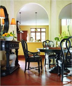 Dining room chairs with a long rectangular table. Dining Furniture Sets, Dining Room Chairs, Dining Rooms, Interior Decorating Styles, Home Interior Design, Round Dining, Dining Set, Spanish Style Homes, Home Remodeling