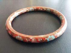 Vintage Bracelet Bangle Cloisonne Flower Daisy Rose Leaf Enamel Floral 3252