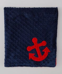 Take a look at the Lolly Gags 28'' x 32'' Navy & Red Anchor Minky Blanket on #zulily today!
