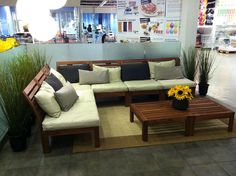 ikea outdoor furniture this is gorgeous for outdoor lounge area. Big group. Maybe on the side building? Wood is always sturdy!