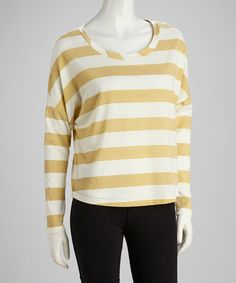 Take a look at this Cream & Gold Stripe Top by Seven7 on #zulily today!