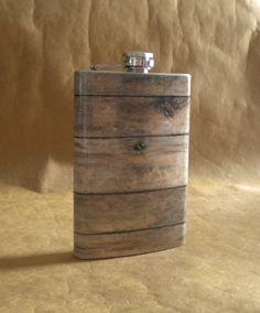 Old Barnwood Print Groomsmen or Guy Country Western Gift  8 ounce Stainless Steel Flask KR2D 6811 on Etsy, $18.50