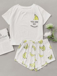 half off d8cf3 9fc08 Nightwear - Banana Print Pocket Front Top With Shorts Pajama Set