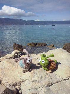 twee slakken op vakantie, two snakes on holiday, a pattern from babsie hook