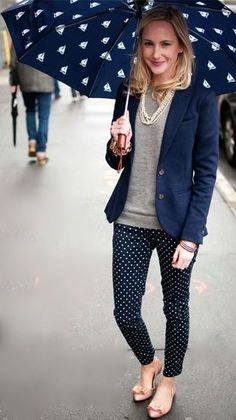 How to look pretty in polka dots outfits for work одежда для Casual Work Outfits, Blazer Outfits, Work Casual, Casual Chic, Casual Looks, Outfit Work, Office Outfits, Casual Summer, Office Fashion
