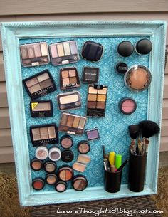 This is such a good idea for organizing makeup! Take an old picture frame and spray paint, replace glass with a piece of metal, and hot glue one or more small magnets (depending on size of container) to the back of containers. Hot glue makes it easy to remove the magnets when finished but strong enough to hold. Brush holders are painted medicine bottles with magnets attached
