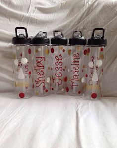 Personalized Cheerleading Team Water Bottles by AtoZVinylCreations