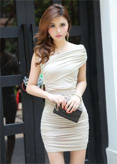 Beige Fitted Bandage Asymetric Collar Asian Fashionable Club Dress
