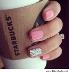 Cute pink and glitter nails