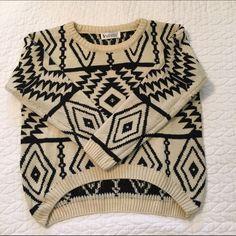 SheInside Hi-Low Aztec Sweater Cream and Black hi-low sweater SheInside Sweaters Crew & Scoop Necks