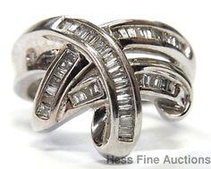 14k White Gold 1ctw Channel Set Baguette Diamond Crossover Loveknot Ring Size 6 #FashionRightHand