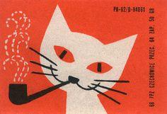 ha! a smoking cat! polish matchbox label by maraid, via Flickr