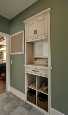 Use the space between the wall studs for entryway storage!