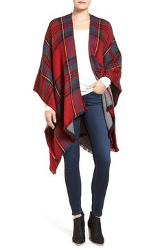 Modena Reversible Plaid & Herringbone Cape available at #Nordstrom