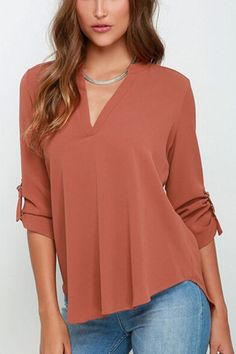 Enjoy a few moments of relaxation with this cozy chiffon long sleeve blouse. Details: - Tops - Long sleeve - V-neck - Full - Formal - Comfy - Fabric:Polyester Free Shipping! MINCHIC suggest checkout w