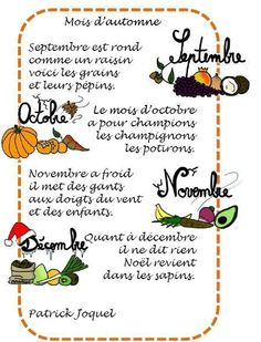 Mois d'automne, de Patrick Joquet French Lessons, Teaching French, Kids Songs, Grade 3, Journal, Activities, Education, Chant, Classroom Ideas