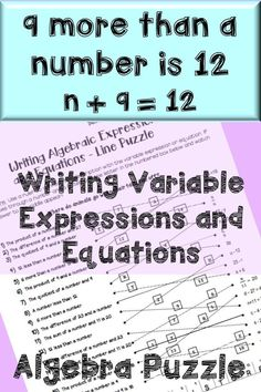 Writing variable expressions and equations. Intro to algebra topics for middle school or high school. Letter Worksheets For Preschool, Algebra Worksheets, Algebra Activities, Maths Algebra, Kindergarten Math Worksheets, Teaching Math, Math Resources, Free Worksheets, Printable Worksheets