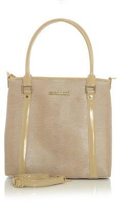 Pinkish Beige Printed Handbag with Tan Trim Accents