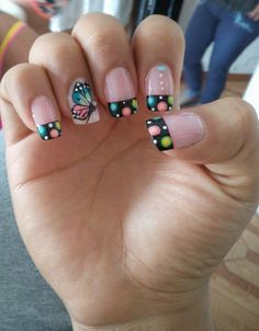 Imagen relacionada Neon Nail Designs, Fingernail Designs, Nail Polish Designs, Purple Nail Art, Funky Nail Art, Nail Art For Girls, Nail Polish Jewelry, Butterfly Nail Art, French Tip Nails