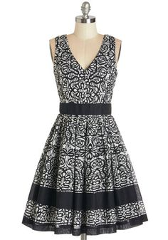 Swirl-Go-Round Dress in Black. On a balmy night at the fair with your darling, you meander about in this black and cream sleeveless dress covered in floral swirls. #modcloth