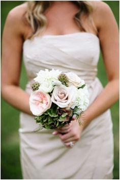 Cream bridesmaid's dress & pink rose bouquet