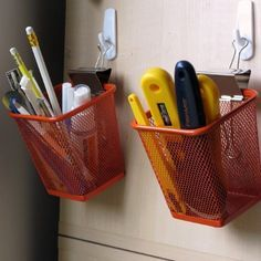 Cup Holder Wisely use vertical space by lifting pencil cups up off your desk with just a hook and a clip.