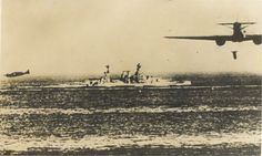 Italian SM-79 Aerosiluranti (torpedo bombers) attacking a British cruiser in the Mediterranean.