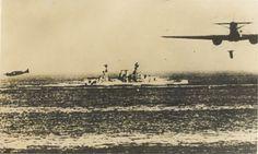 Italian SM-79 Aerosiluranti (torpedo bombers) attacking a British cruiser in the Mediterranean.