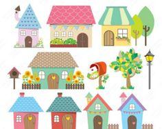 40% OFF SALE Little Houses Digital Clipart