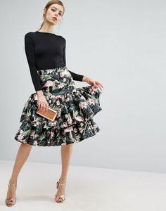 ASOS Prom Skirt in Flamingo Jacquard with Ruffle Hem