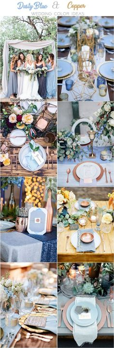 copper and dusty blue wedding color ideas / http://www.deerpearlflowers.com/dusty-blue-and-copper-wedding-color-ideas/